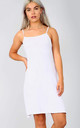 Strappy Jersey Mini Swing Dress in White by Oops Fashion