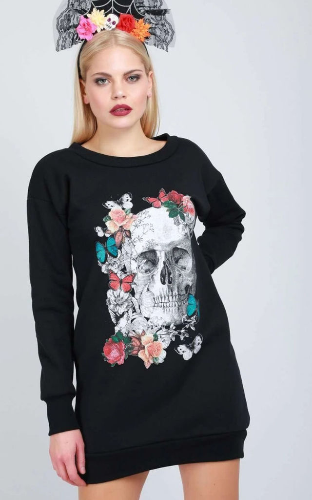 Floral Skull Print Jumper Dress In Black by Oops Fashion