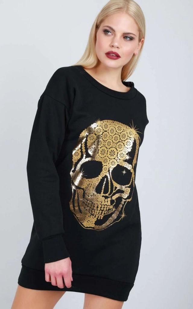 Oversized Foil Skull Print Sweater Dress In Black by Oops Fashion