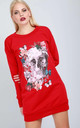 Floral Skull Print Jumper Dress In Red by Oops Fashion