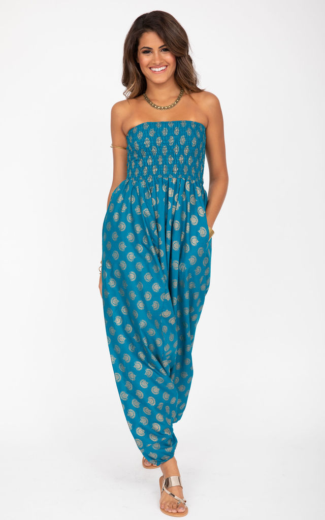 2 in 1 Cotton Harem Trousers/Bandeau Jumpsuit in Turquoise and Gold Applique by likemary