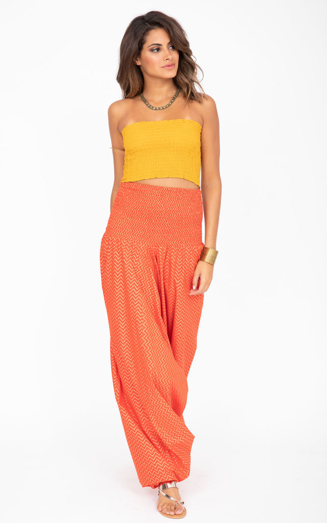 2 in 1 Cotton Harem Pants & Bandeau Jumpsuit in Orange and Gold Zig Zag Print by likemary