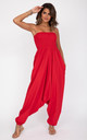 2 in 1 Cotton Harem Trousers/Bandeau Jumpsuit in Red by likemary