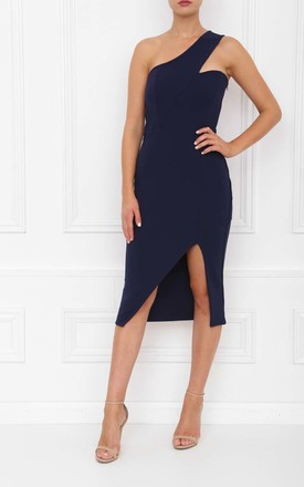 Melissa Navy One Shoulder Midi Dress With Front Split by Honor Gold Product photo