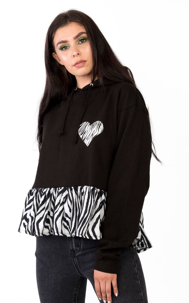 Wild Heart Hoodie with Frill in Black/Zebra Print by Tallulah's Threads