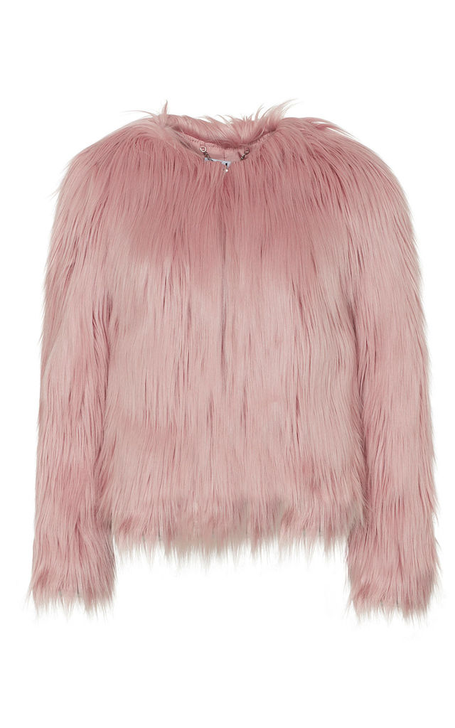 Pink Dawn Mongolian Faux Fur Jacket by Anastasia Fashions
