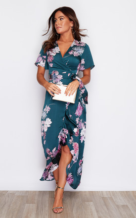 Farren Split Hem Frill Detail Maxi Dress Green Print by Girl In Mind Product photo