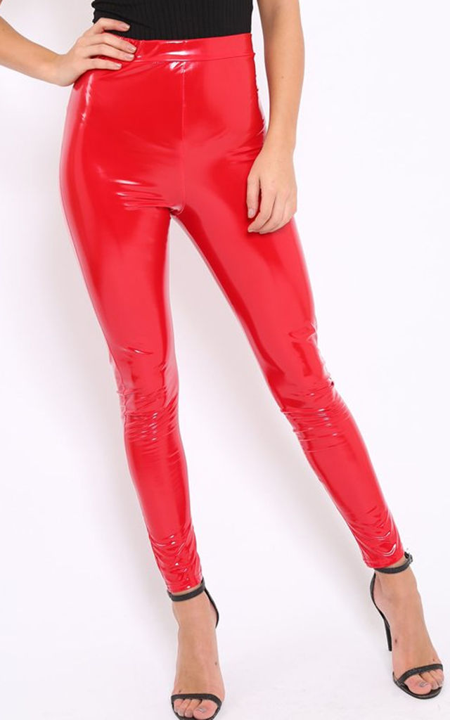 High Waisted Faux Vinyl Leggings in Red by Oops Fashion
