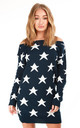 Navy Bardot Jumper Dress with Star Print by Oops Fashion