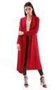 Open Front Longline Jacket In Red by Oops Fashion