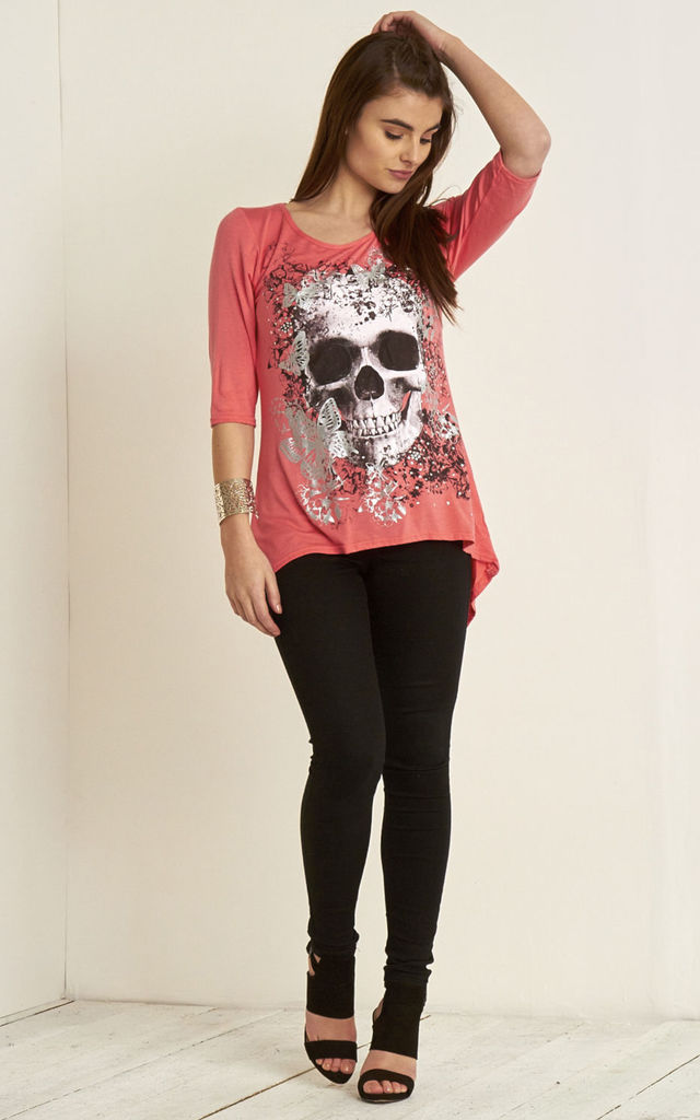 Coral Cropped Sleeve Top with Butterfly Skull Print by Oops Fashion