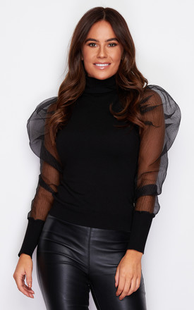 Sofia Black Polo Neck Jumper Black by Girl In Mind