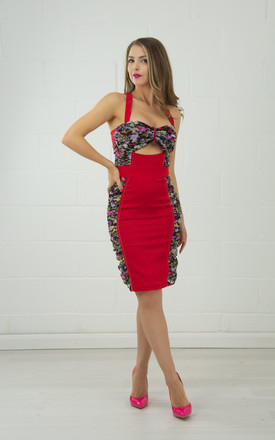 Red Structured Pencil Skirt With Draped Side Panels by Tia Dorraine London Product photo