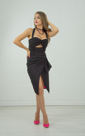 Glam Leisure Asymmetric Midi Skirt In Black by Tia Dorraine London Product photo