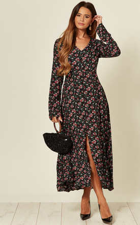 Long Sleeve Maxi Dress In Black Floral Print by LOVE SUNSHINE Product photo