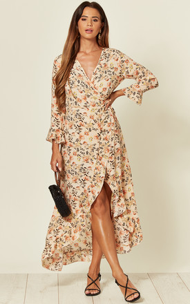 Frill Wrap Midi Dress In Multi Floral Print by LOVE SUNSHINE Product photo