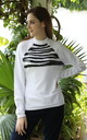 Zebra Print Sweatshirt in White by AMPOUR