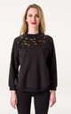 Black Sweatshirt with Beaded Leopard Print Design by AMPOUR