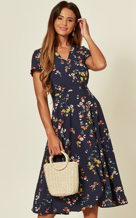 Midi Dress In Navy Floral & Polka Dot Print by LOVE SUNSHINE Product photo