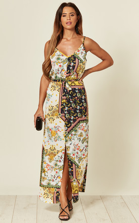 Patch Floral Printed Strappy Maxi Dress by LOVE SUNSHINE Product photo