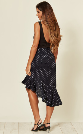 Asymmetric Frill Skirt in Navy Polka Dot Print by LOVE SUNSHINE