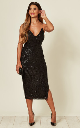 Black Strappy Sequin Midi Dress by Skirt and Stiletto Product photo