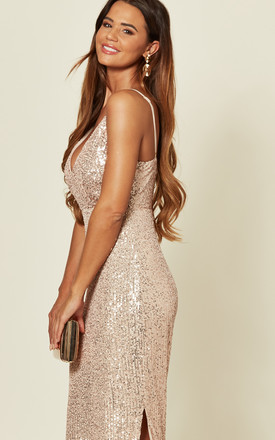 Rose Gold Sequin Maxi Dress by Skirt and Stiletto