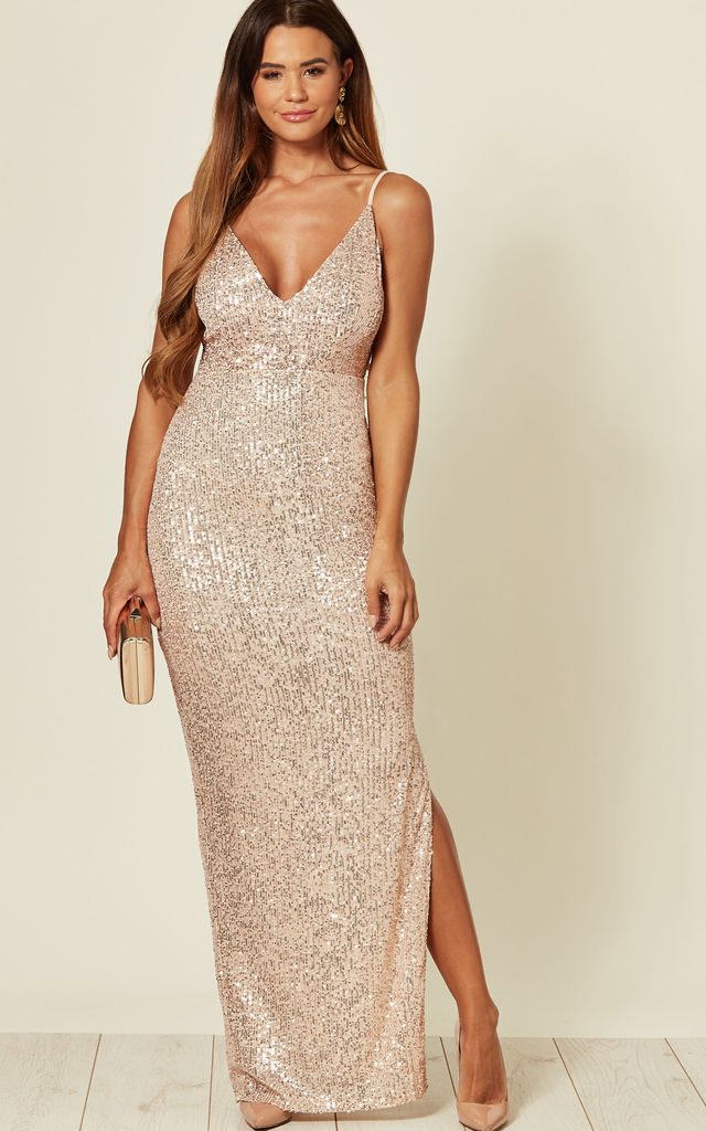 stable quality suitable for men/women variety design Rose Gold Sequin Maxi Dress By Skirt & Stiletto