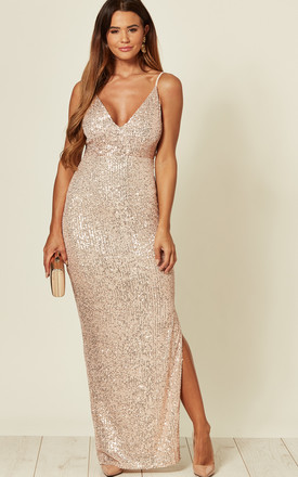 Rose Gold Sequin Maxi Dress by Skirt and Stiletto Product photo