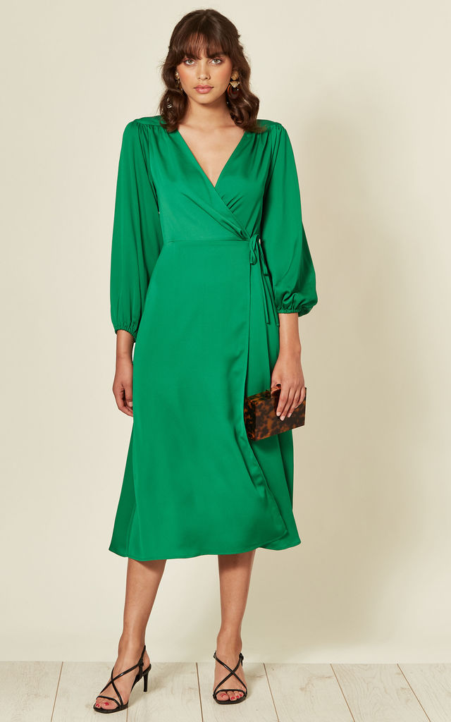 Green Long Sleeve Midi Wrap Dress with Tie by Another Look