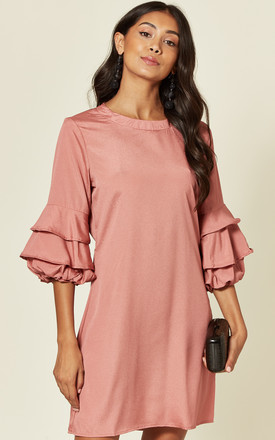 Ruffle Sleeve Crepe Mini Dress In Pink by LOVE SUNSHINE Product photo