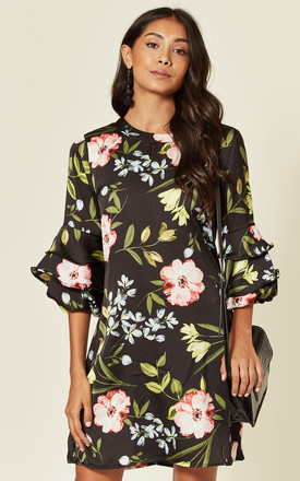 Ruffle Sleeve Mini Dress In Black Floral Print by LOVE SUNSHINE Product photo