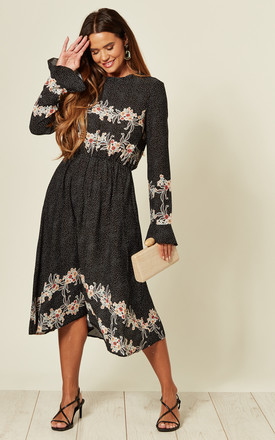 Frill Sleeve Midi Dress In Black Polka Dot & Floral Border Print by LOVE SUNSHINE Product photo