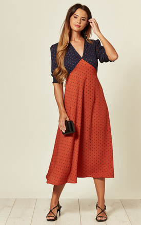 V Neck Midi Dress In Navy/Orange Polka Dot Print by LOVE SUNSHINE Product photo