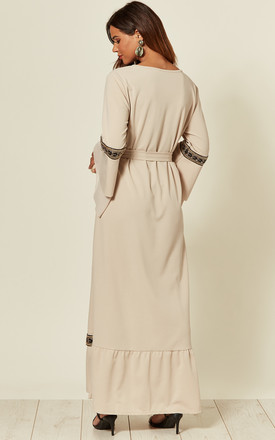 Beige Flute Sleeve Maxi Dress With Applique Trim by The ModestMe Collection