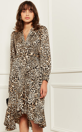 Midi Wrap Dress In Leopard Print by Bella and Blue Product photo