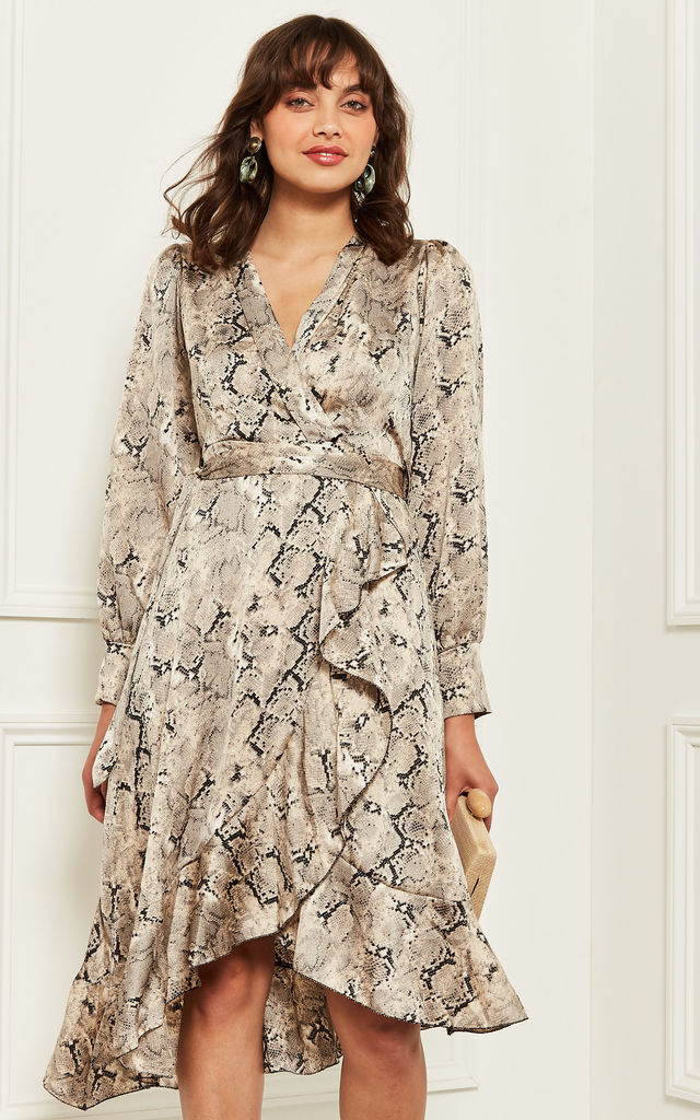 Midi Wrap Dress in Snake Print by Bella and Blue