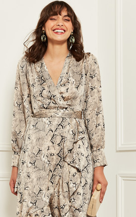 Midi Wrap Dress In Snake Print by Bella and Blue Product photo