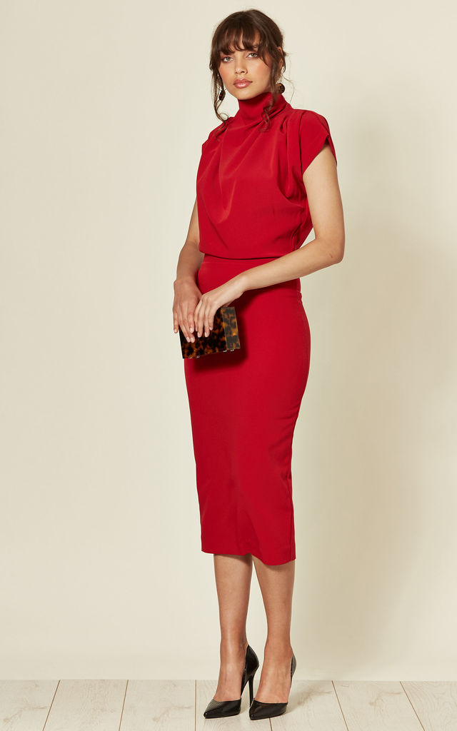 Gracie Midi Dress in Red Prada by House Of Lily