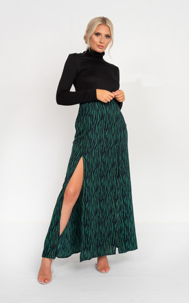Vibe Maxi Skirt with Split in Green Zebra Print by Miss Attire