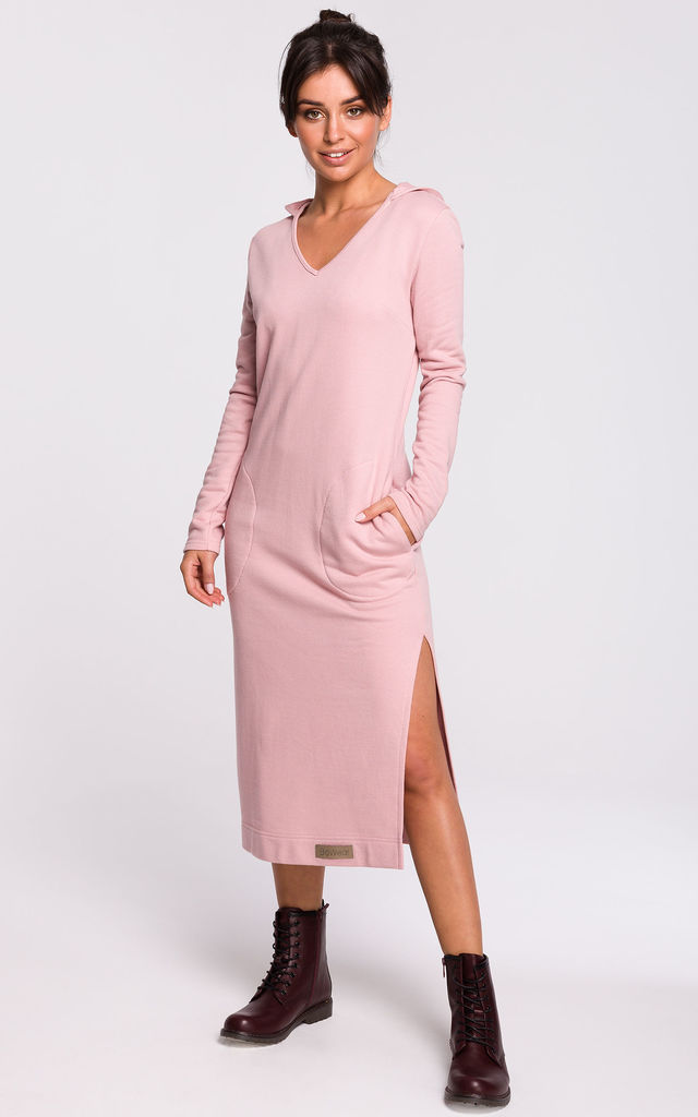 Hooded Midi Dress with V-Neck in Powder Pink by MOE