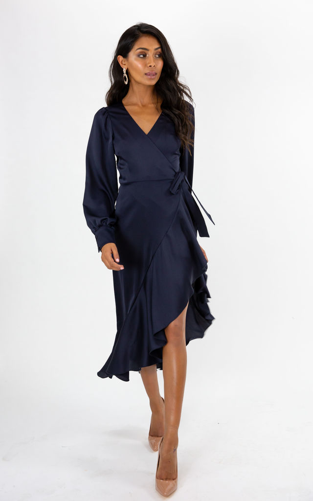 Charlotte Navy Frill Wrap Midi Dress by Style Cheat