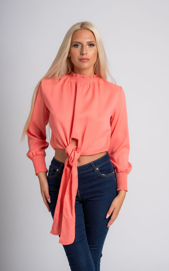 Succi Blouse In Coral Long Sleeve by Miss Attire