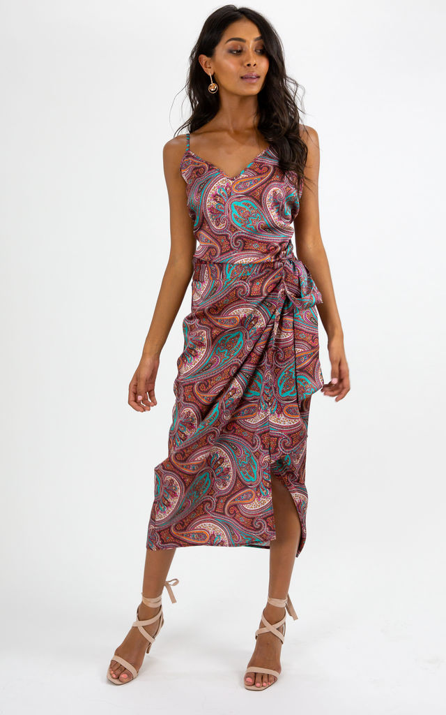 Beau Paisley Print Wrap Midi Skirt by Style Cheat
