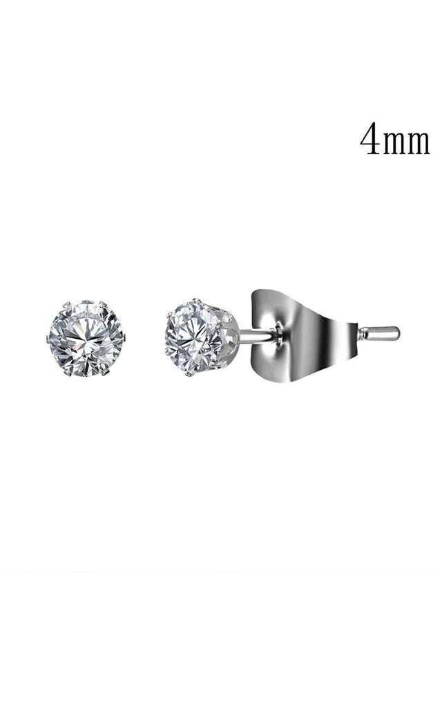 Silver Crystal Stud Earrings - 4mm by Always Chic