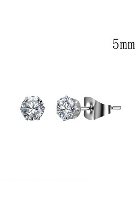 Silver Crystal Stud Earrings - 5mm by Always Chic