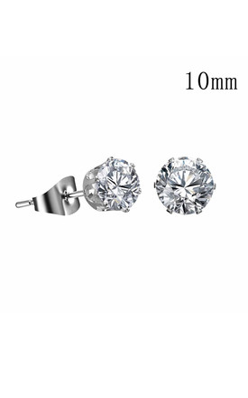 Silver Crystal Stud Earrings - 10mm by Always Chic