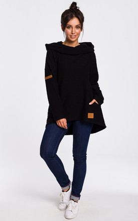 Hoodie With Wide Collar In Black by MOE Product photo