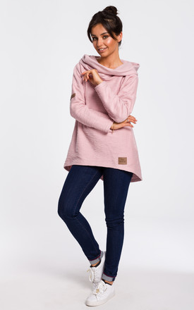 Hoodie With Wide Collar In Powder Pink by MOE Product photo