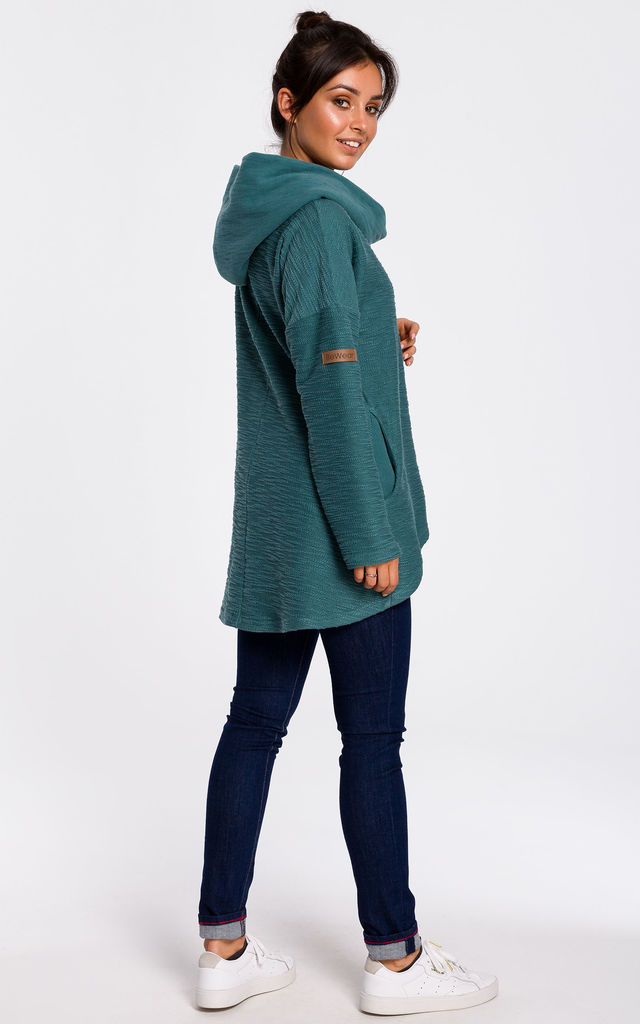 Hoodie with Wide Collar in Dark Turquoise by MOE